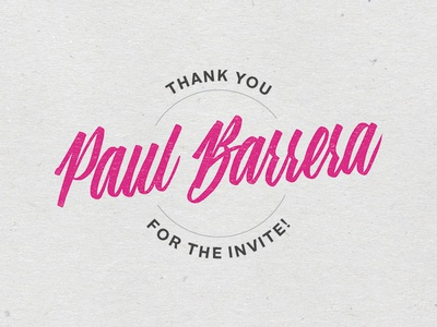 Thanks for the invite, Paul!