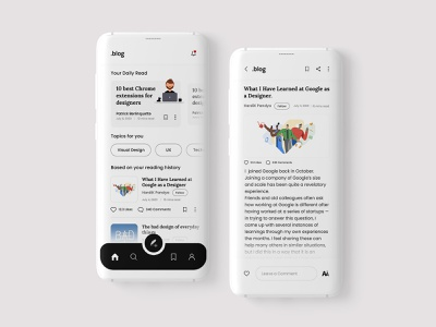 10 Days Design Challenge, Day 6- Blog App Design design user interface design adobe photoshop blog design designinpiration 10ddc uiux dribble daily ui ui design app design