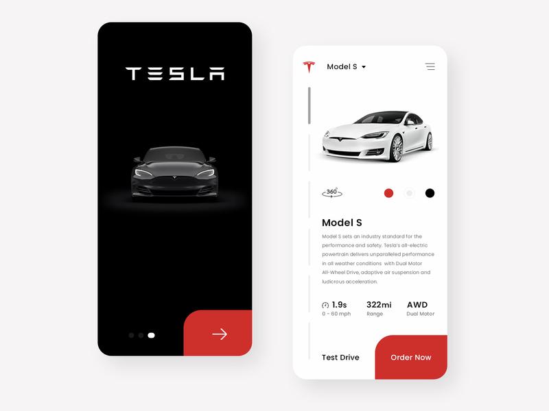 Tesla App Design Concept ui user interface design designinpiration car tesla adobe photoshop uiux dribble daily ui ui design app design