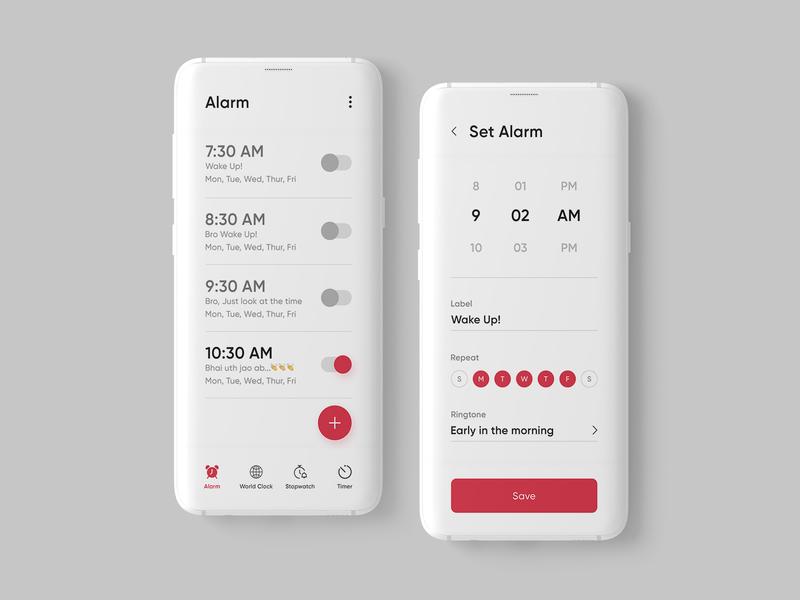 Alarm App Design Concept design designinpiration user interface design ui alarm app adobe photoshop uiux dribble daily ui ui design app design