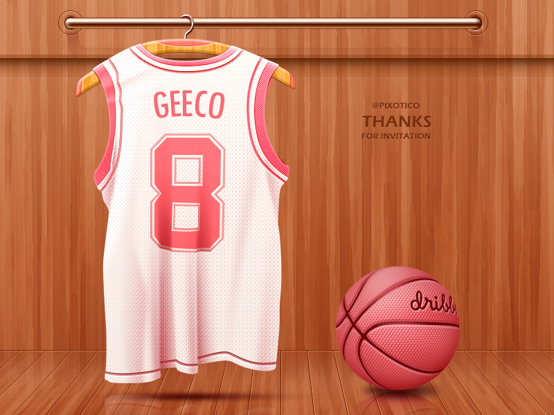 Thanks to @Pixotico for Invitation! dribbble wardrobe basketball cloth geeco china thanks invite debut jersey first shot