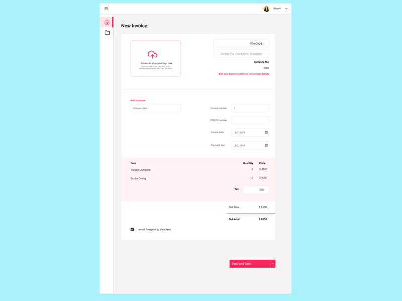 Create New Invoice Page #01