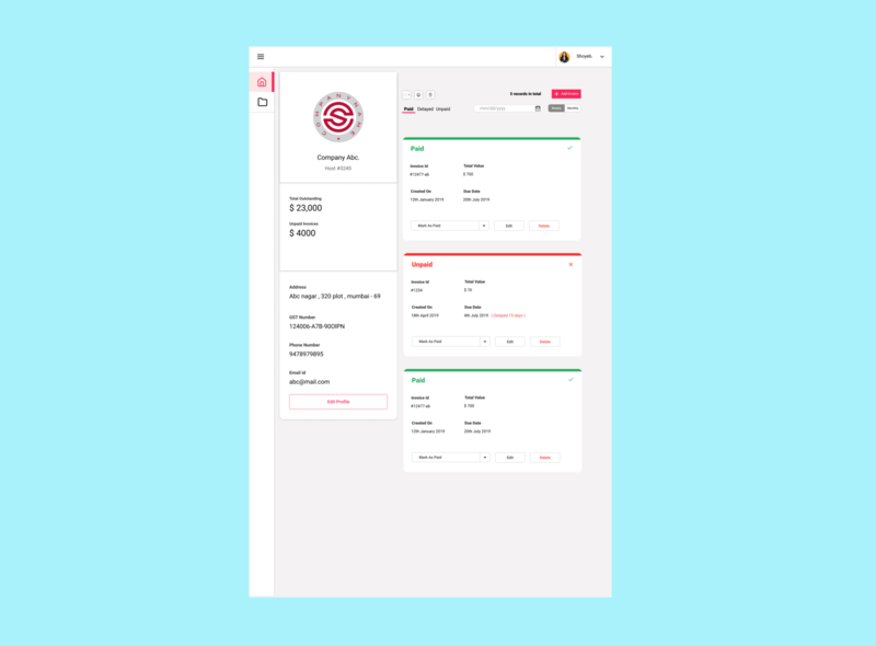 Invoice Listing page #02