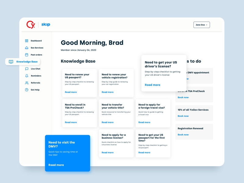 Dashboard - Knowledge Base and Reminders platform design minimal clean dashboard web design ux ui saas