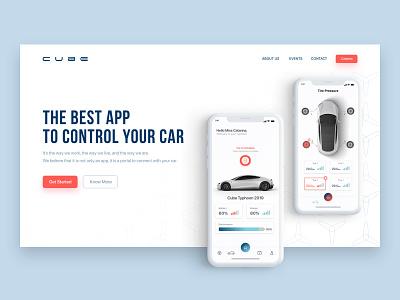 Automobile App - Landing Page adobe xd car automobile clean brand design ux ui