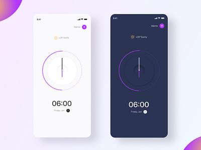 UI Alarm app Dark Theme ux ui