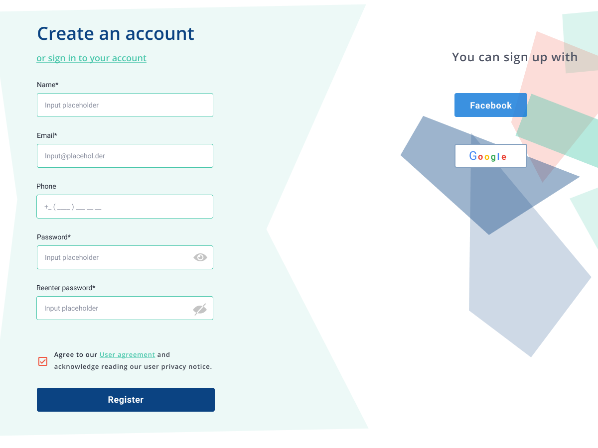 Sign Up dailyui ui app website web vector flat design