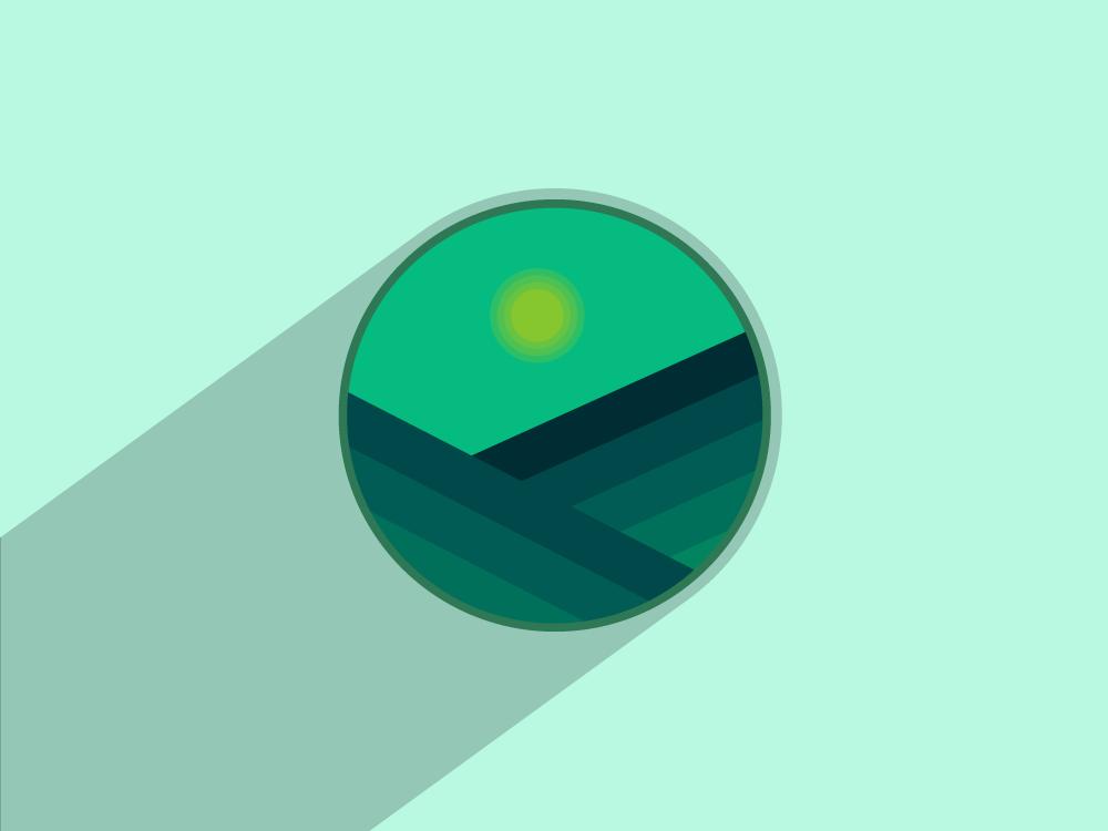 Green landscape artwork landscape shape creative green color art flat icon logo vector design illustration