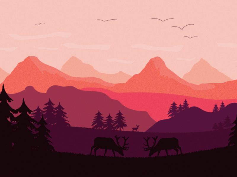 Nature landscape vector artwork tree deer summer illustration 2d landscape