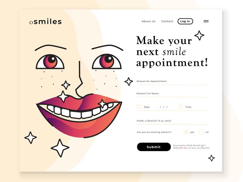 oSmiles Form web design ui illustration dentistry smiley 001 dailyui