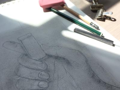 Self Portrait drawing self portrait hand shading sketchbook pencil graphite gray illustration