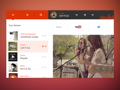 Peanut Butter & Jams Nav music flat dashboard ui nav minimalist social stream playlist search