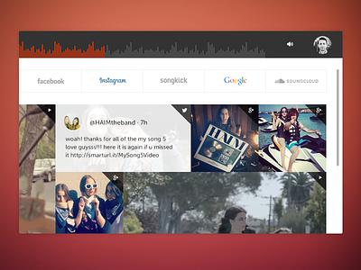 Peanut Butter & Jams - Filters music flat dashboard ui nav minimalist social stream filter now playing