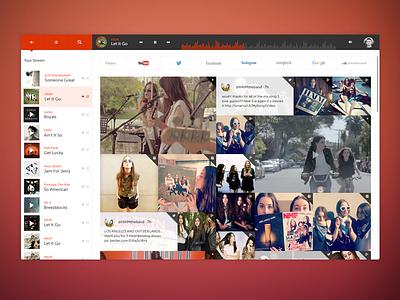 PBJ Dashboard music flat dashboard ui nav minimalist social stream filter now playing progress