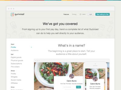 Features sidenav icons marketing promotion clean landing flat list features