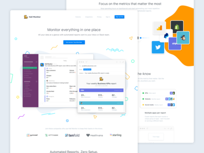 Hall Monitor homepage and features monitor email slack data analytics landing page features homepage