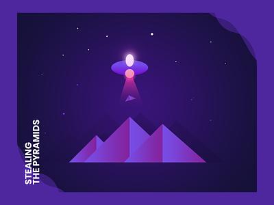 Stealing The Pyramids galaxy space ufo pyramids night card postcard sticker vector illustration