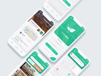 Waste & Recycle Management Application android ios flutter phone app phone white xd iphone green modern ux ui mockup mobile application ecology