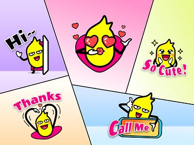Ananas emojis for social app thanks hi call smile branding fruit ananas ui logo icon cute cartoon app emoji