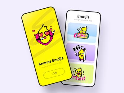 Ananas emojis for social app mobile thanks hi smile video chat call ui branding cartoon cute app icon logo emoji fruit ananas