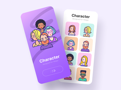 Character for social app mobile avatar character illustration design icon emoji cute cartoon app logo ui