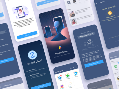 Parallel Space mobile typography product design privacy tool theme device android clone account ue brand multiple face space parallel logo ui app branding