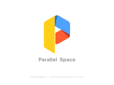 Parallel Space logo vi brand graphic mobile material blue color google clone face multiple ue ux android ui icon logo app space parallel