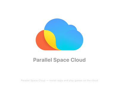 Parallel Space Cloud_Logo mobile graphic vi yellow red blue app ui google color brand space parallel cloud icon logo