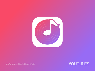 YouTunes_logo mobile mtv song player record disc concert musical note play music icon ux app ui branding logo