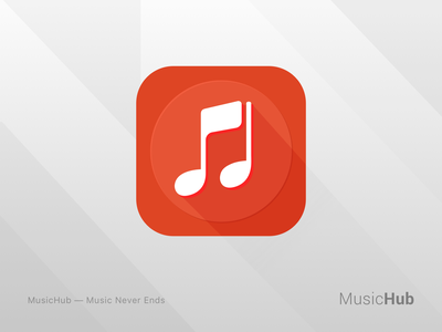 MusicHub logo mobile artist aterial design red app branding ui hub player play icon logo music
