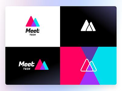 Meet logo peak tech meet icon graphic design branding logo