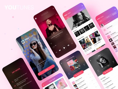 YouTunes Mobile User Interface product design artist song player play youtube itunes tune music ui app mobile
