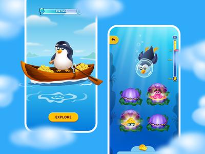 Game app - Mobile App deep sea underwater diving octopus ocean gold coins penguin bounty bonus casual game game cartoon app ui mobile mo