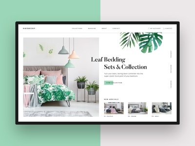 Harmony design web collection ux ui clean harmony style palm leaf sheets beeding