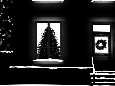 Happy Holidays 2013 card christmas tree wreath snow house