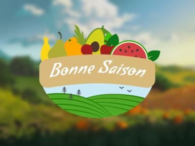 Bonne Saison fields composition fruit whole wholesome healthy logo food health saison bonne