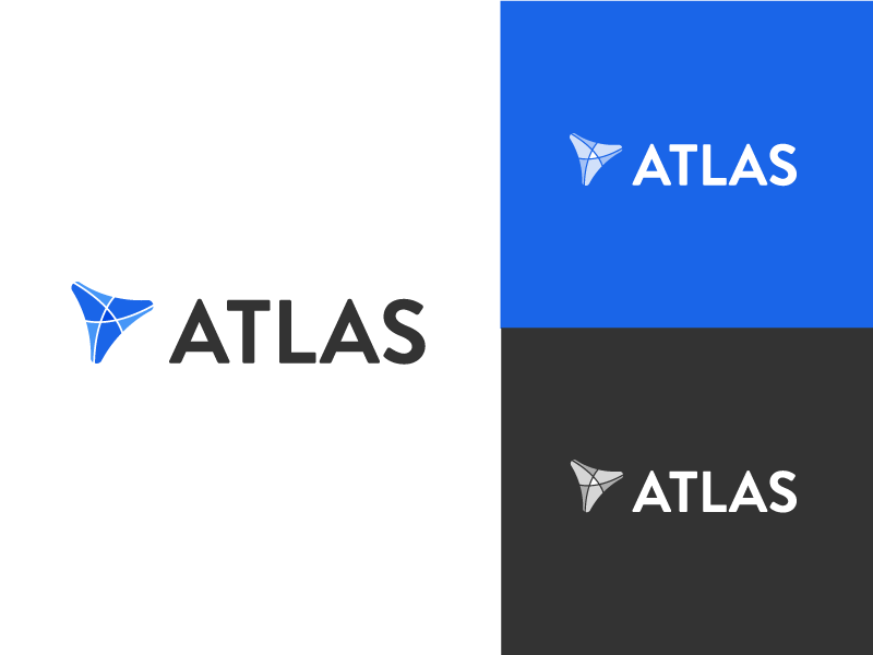 Atlas Logo white black blue myth greece greek world globe flat black and white atlas
