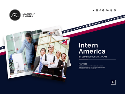 Intern America BiFold Brochure Template print template students flag united states of america branding brochure layout star spangled banner letter brochure bifold brochure stationery brochure template america usa print brochure brochure design