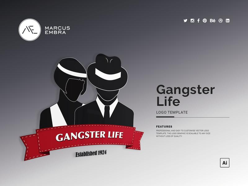 Gangster Life Logo Template badge retro logo gangsters fancy dress party 1920s chicago silouhette logo gangsters and molls branding design vector logo logo design logotype black red