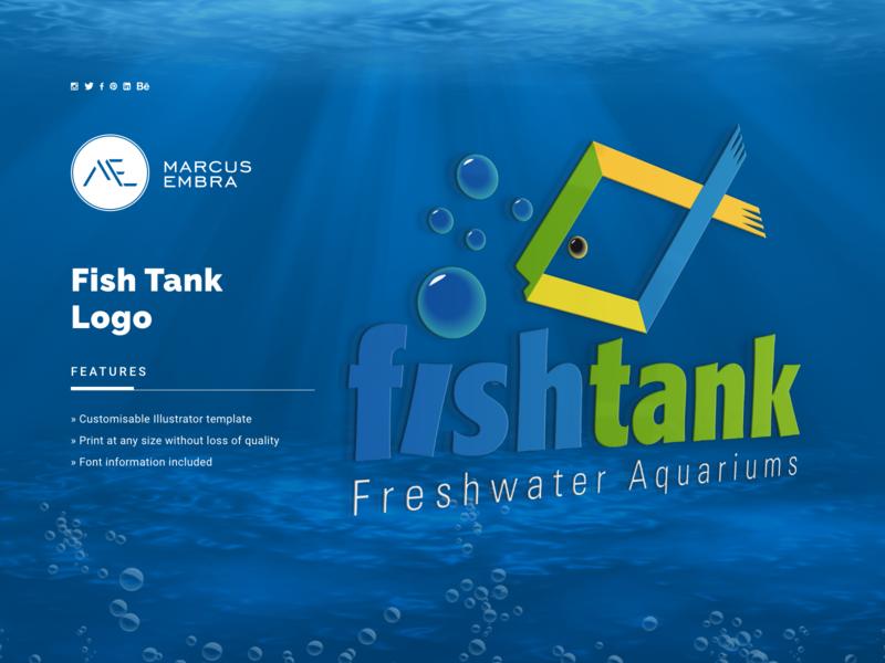 Fish Tank Logo vector art fish logo sea green blue brand identity branding design brand logo logo design