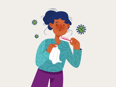 Covid fever health pandemic vaccine concept uiuxillustration virus covid-19 character ui ilustração woman girl illustration girl vector illustration