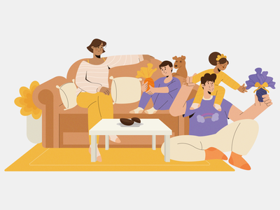 Easter staysafe stayhome living room couch kids father mother character dog uiux vector illustraion fmily reunion family easter egg easter