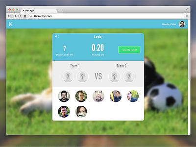 Table Soccer App design football table ui web application soccer table soccer football sketch kicker