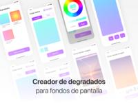 Creador de degradados para fondos de pantalla - App concept