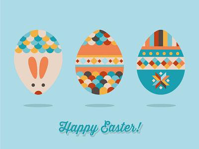 Easter Eggs rabbit bunny easter egg illustration flat color illustrator greetings