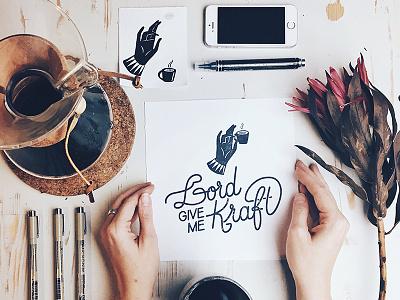 Lord give me Kraft monochrome hand handlettered hand lettering illustrator illustration brand calligraphy lettering