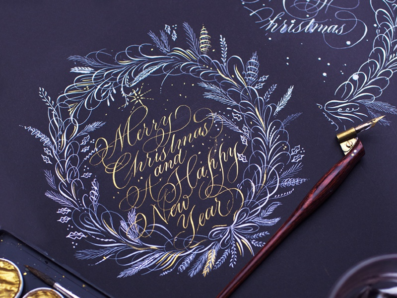Christmas Wreath letters flourish santa calligraphy typography hand lettered hand lettering lettering christmas
