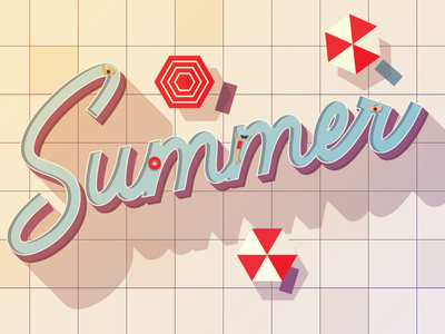 Summer Swim sun pool summer hand lettering illustrator branding lettering