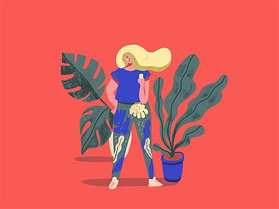 Monday girl 1: sport selfie selfie plant procreate monstera girl plants illustration character