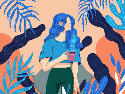 Just another perfect Monday illustration botanicals plant lady plants coffee girl procreate character design character concept